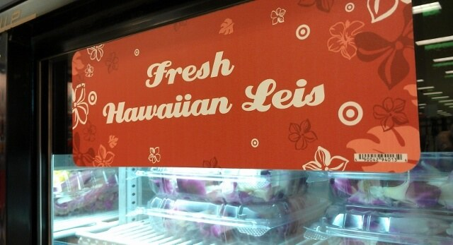 Leis for sale at a Target on Oahu (photo by Sheila Scarborough)