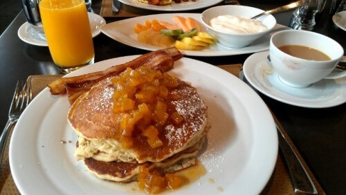 Lemon Ricotta pancakes at Flint restaurant in the Colcord Hotel, Oklahoma City (photo by Sheila Scarborough)
