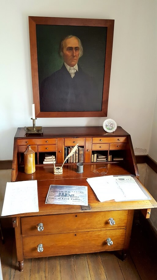 Levi Coffin portrait and desk Fountain City Indiana Underground Railroad (photo by Sheila Scarborough)