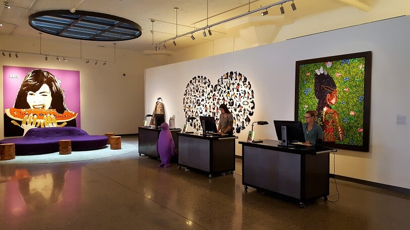 Lobby of 21c Hotel Oklahoma City (photo by Sheila Scarborough)