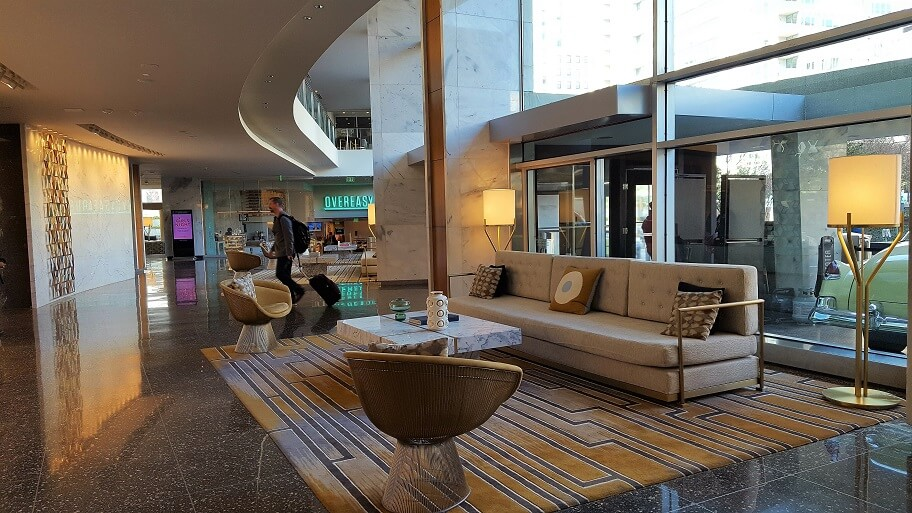 Lobby of midcentury modern historic hotel The Statler downtown Dallas TX (photo by Sheila Scarborough)