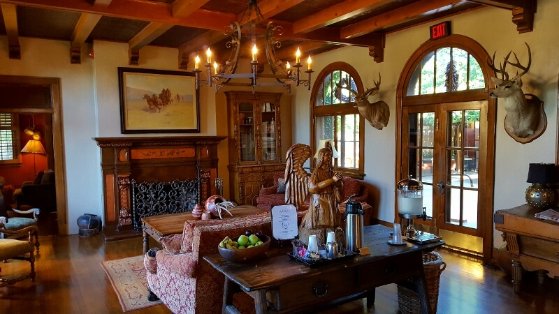 Western swing: the lobby of the historic Gage Hotel in tiny Marathon, TX (photo by Sheila Scarborough)