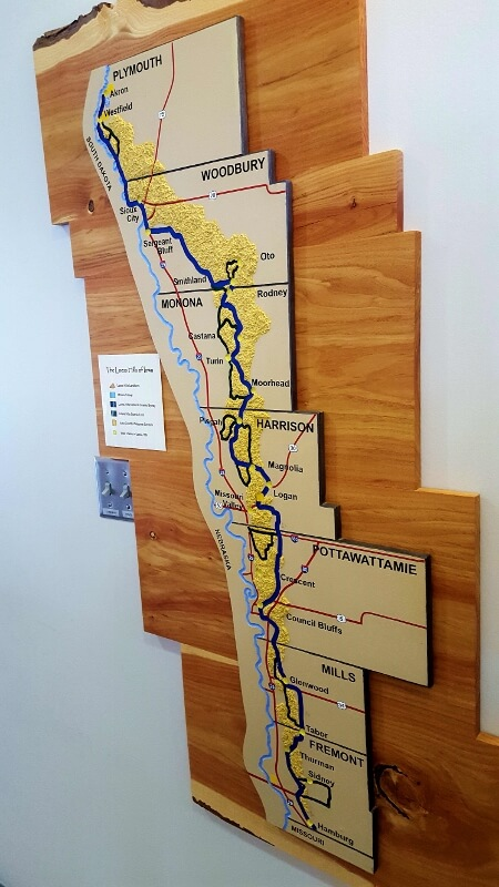 Loess Hills wall map at Hitchcock Nature Center Honey Creek Iowa (photo by Sheila Scarborough)