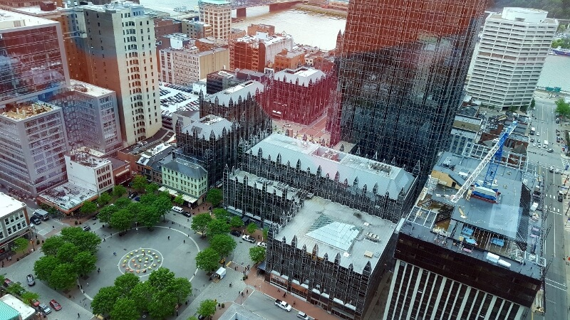 Looking down on Market Square and part of PPG Place from a downtown highrise in Pittsburgh PA (photo by Sheila Scarborough)