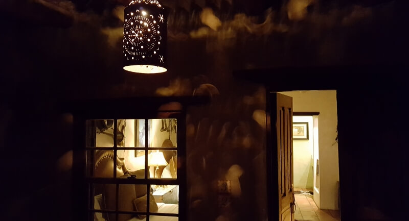 Just breathe. Looking into a Los Portales room at night at the Gage Hotel in Marathon, Texas (photo by Sheila Scarborough)