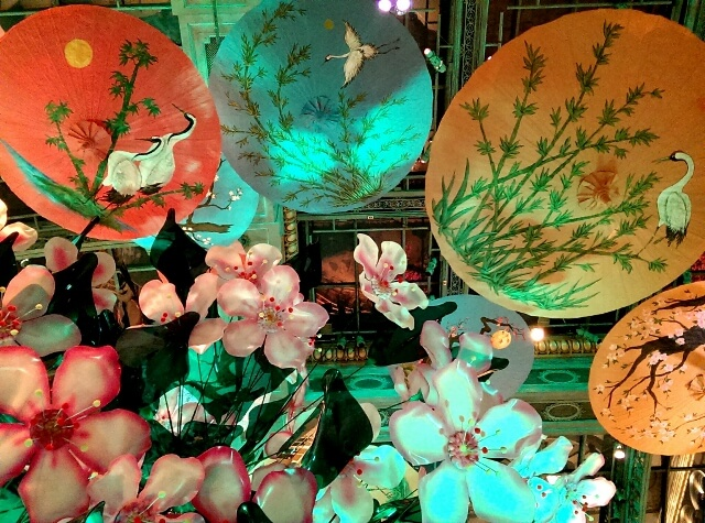 Looking up at a Japanese tea garden display at Bellagio Las Vegas (photo by Sheila Scarborough)