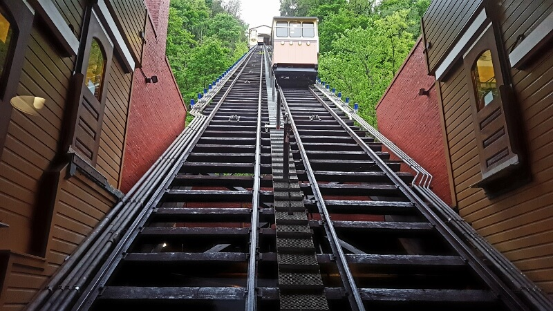 Looking up the Monongahela Incline funicular in Pittsburgh PA (photo by Sheila Scarborough)