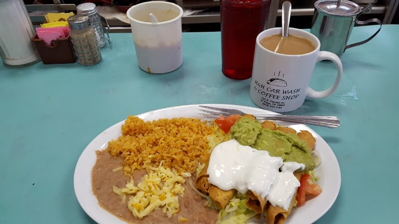Lunchtime flautas at H&H Car Wash and Coffee Shop in El Paso TX (photo by Sheila Scarborough)