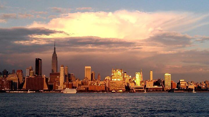 Manhattan skyline at sunset from Lincoln Harbor NJ (photo by Sheila Scarborough)
