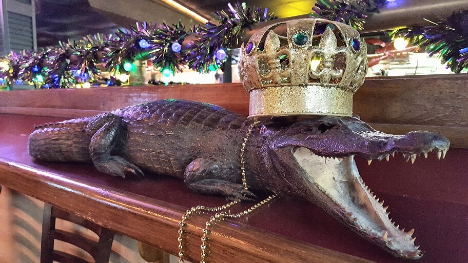 Mardi Gras gator at Larry's French Market Groves TX (photo by Sheila Scarborough)