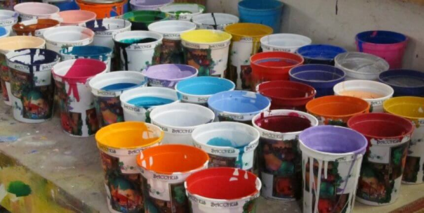 Paint pots at Mardi Gras World in New Orleans