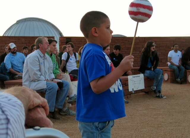 Representing a planet at McDonald Observatory Twilight Program, Fort Davis TX (photo by Sheila Scarborough)