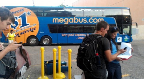 Megabus checkin at Austin stop near the UT campus (photo by Sheila Scarborough)