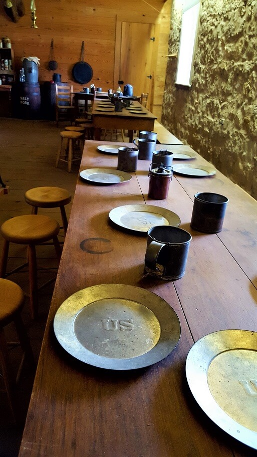 Mess Hall 5 table at Fort Concho in San Angelo TX (photo by Sheila Scarborough)