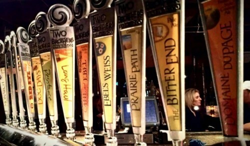 Craft beer options at Two Brothers Roundhouse in Aurora IL (photo by Sheila Scarborough)