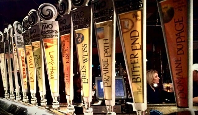 Beer options on tap at Two Brothers Roundhouse in Aurora IL (photo by Sheila Scarborough)