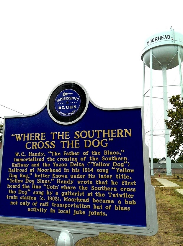 Mississippi Blues Trail marker in Moorhead MS for WC Handy Yellow Dog Blues (photo by Sheila Scarborough)