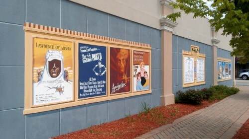 Vintage movie posters recreated by Richard Haas for the theater mural in Homewood IL (photo by Sheila Scarborough)