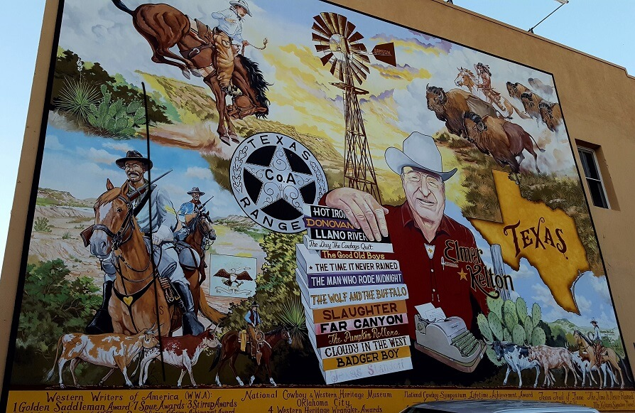 Mural of Western novel author Elmer Kelton in San Angelo TX (photo by Sheila Scarborough)