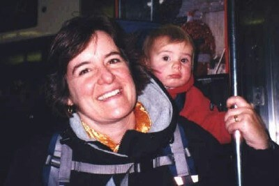 My toddler son and I on a New York City subway ride (photo by Chris Fancher)