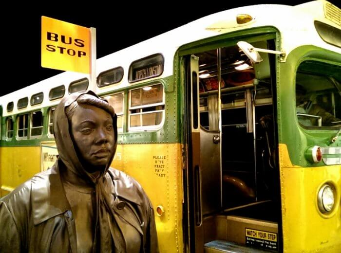 Civil rights history at the National Civil Rights Museum Memphis section on the Montgomery AL bus boycott (photo by Sheila Scarborough)