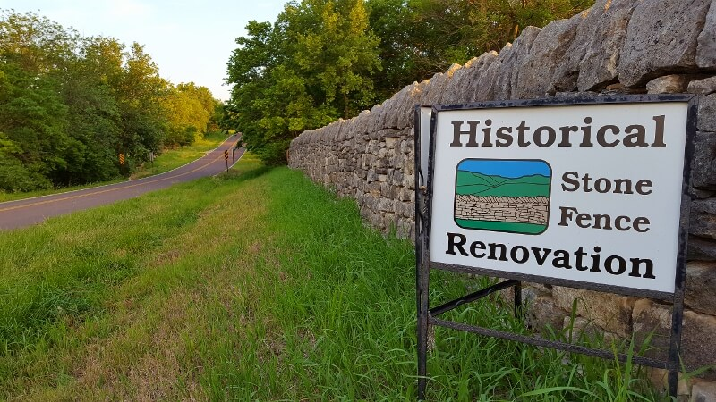 Native Stone Scenic Byway in Kansas stone wall restoration sign (photo by Sheila Scarborough)