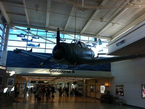 Navy memorabilia at Chicago Midway airport, named for the Battle of Midway in the Pacific (courtesy Ralph Paglia at Flickr CC)