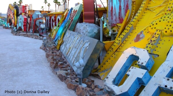 Signs line the paths at the Neon Boneyard Museum in Las Vegas, Nevada.