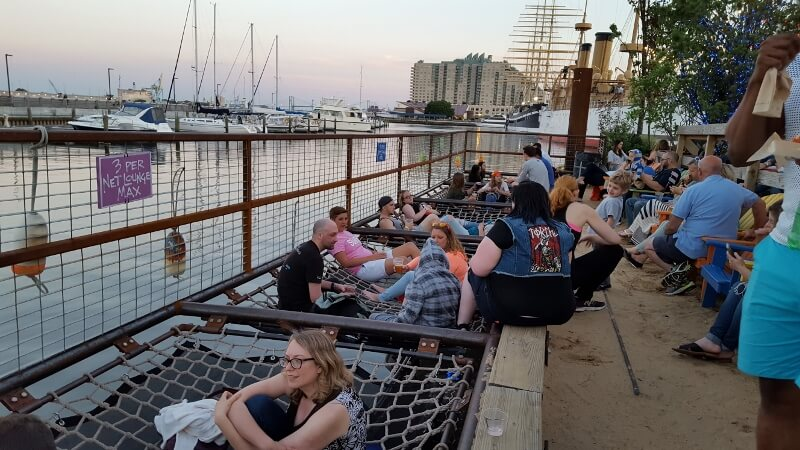 Net lounges over the water in summer at Spruce Street Harbor Park Philadelphia (photo by Sheila Scarborough)