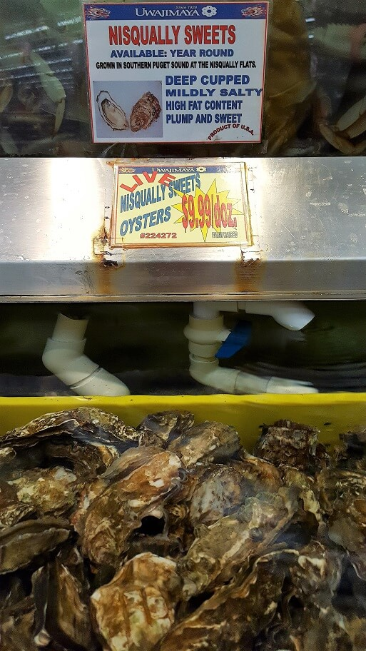 Nisqually Sweets oysters at Uwajimaya Asian grocery Chinatown Seattle (photo by Sheila Scarborough)