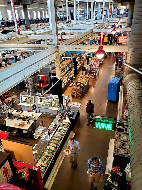 North Market looking down from 2nd floor Columbus OH (photo by Sheila Scarborough)