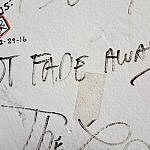 Not Fade Away writing on the wall in Surf Ballroom Green Room Clear Lake Iowa (photo by Sheila Scarborough)