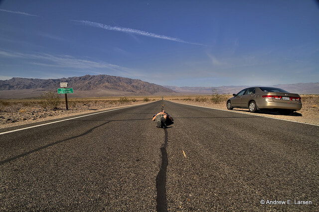 Not a recommended rest stop method (in Death Valley CA courtesy papalars at Flickr CC)