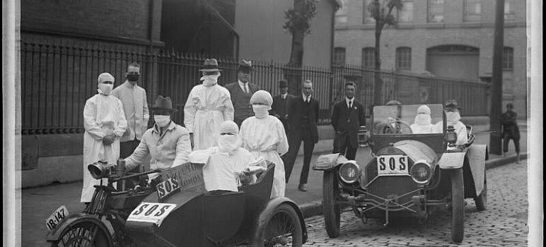 Before coronavirus nurses leaving Blackfriars Depot, Chippendale NSW 1919 during flu epidemic (courtesy NSW State Archives on Flickr Commons)