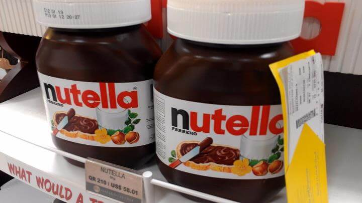 Nutella giant jars in Doha Qatar Duty Free (photo by Sheila Scarborough)