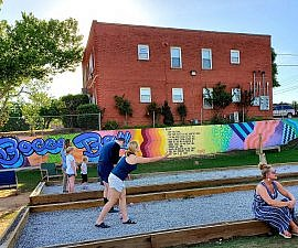 New in Oklahoma City bocce ball court in a former empty lot Midtown OKC (photo by Sheila Scarborough)