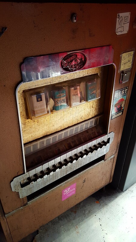 Old School cigarette vending machine at the Continental Club on South Congress Ave in Austin TX (photo by Sheila Scarborough)