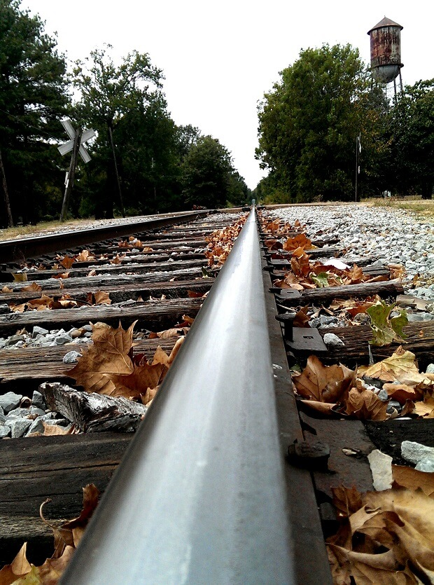 On the tracks where the Southern cross the Dog in Moorhead Mississippi (photo by Sheila Scarborough)