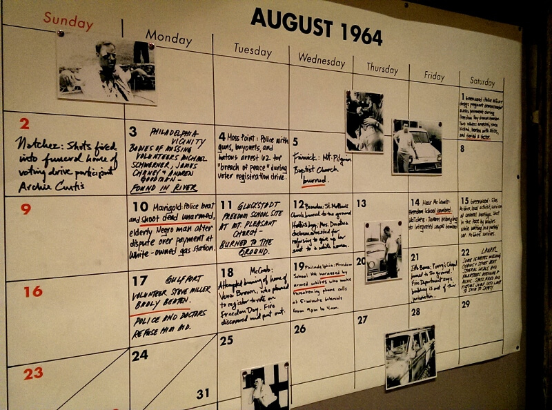 One month of Freedom Summer notes on a calendar National Civil Rights Museum Memphis (photo by Sheila Scarborough)