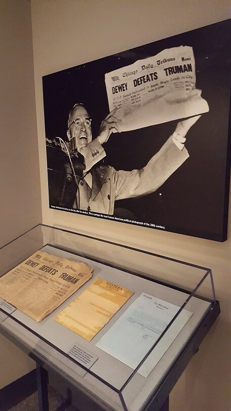 One of the Dewey Defeats Truman newspaper mistakes at Truman Library Independence MO (photo by Sheila Scarborough)