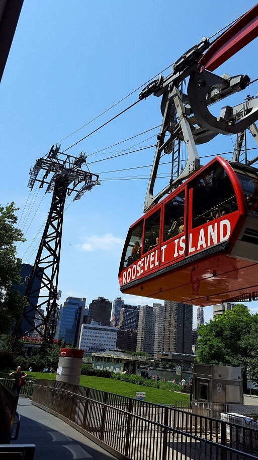 One of the red cars of the Roosevelt Island Aerial Tramway from Manhattan (photo by Sheila Scarborough)