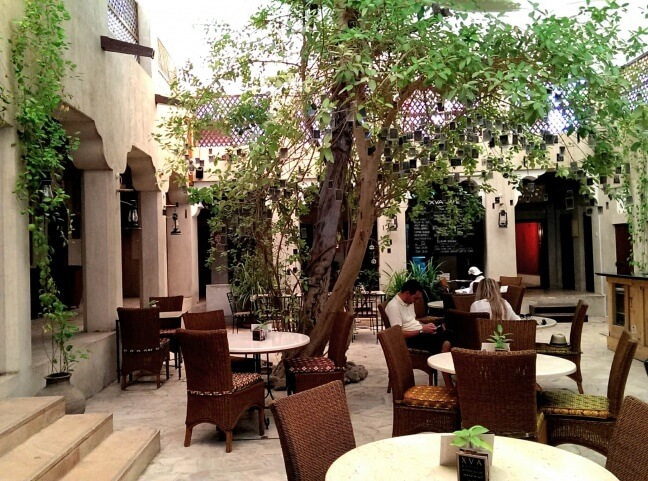 One of three shaded courtyards in the XVA art gallery, hotel, and cafe complex inside Heritage Village, Al Fahidi neighborhood, Dubai (photo by Sheila Scarborough)