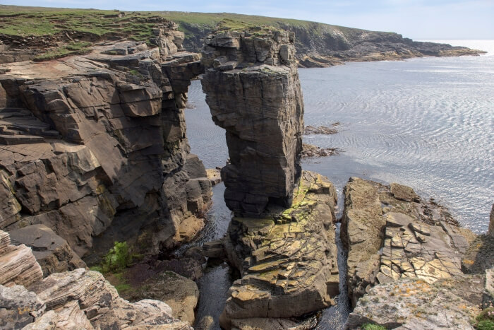 Cliffs on the coast of Orkney in scotland