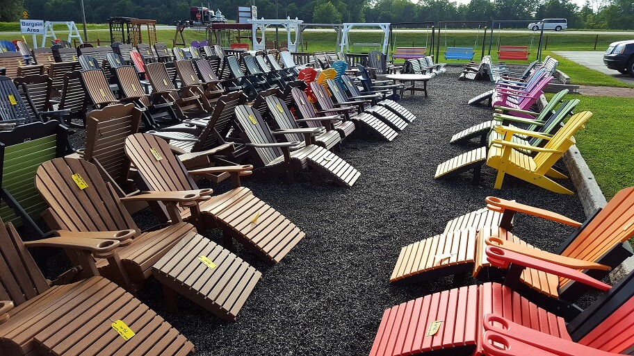 Outdoor furniture for sale at Fountain Acres Foods Amish store Fountain City Indiana (photo by Sheila Scarborough)