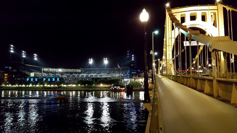 A walk around downtown Pittsburgh incl PNC Park riverside ballpark plus Roberto Clemente Bridge