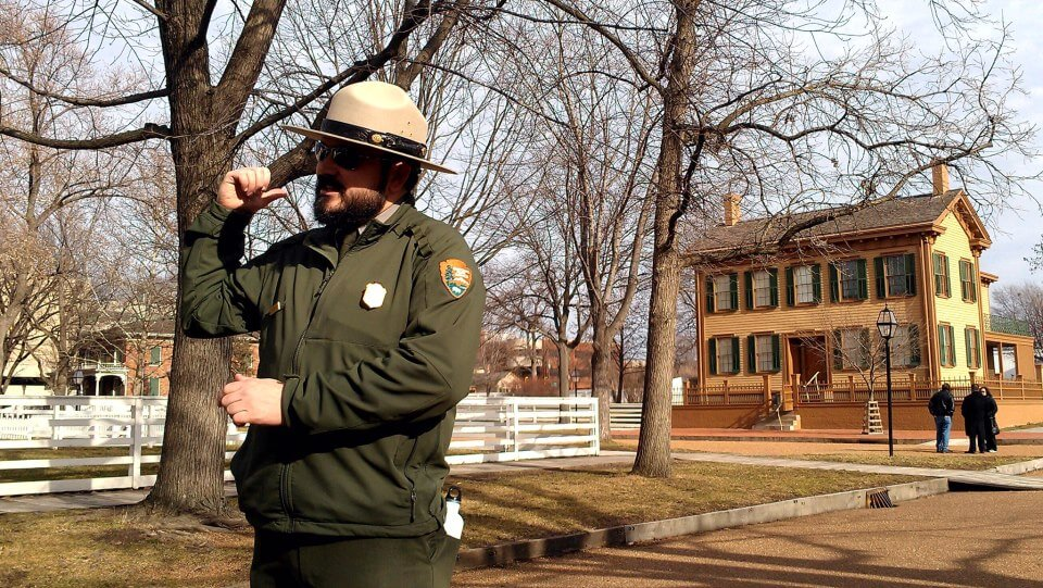 Park Ranger Matt Whitney leads tours of the Lincoln Home Springfield IL (photo by Sheila Scarborough)