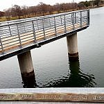 Part of Belting it Out public art on Lady Bird Lake Boardwalk Austin TX (photo by Sheila Scarborough)
