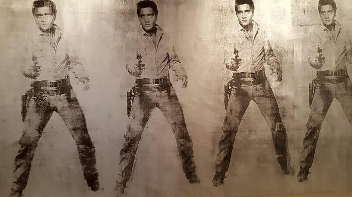 Part of Elvis Eleven Times 1963 silkscreen at Andy Warhol Museum Pittsburgh (photo by Sheila Scarborough)