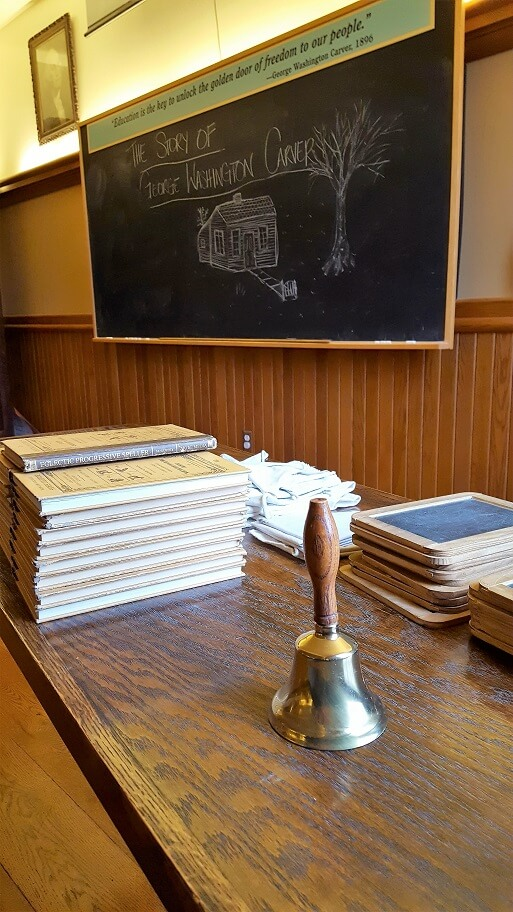 Part of a recreated one room schoolhouse similar to one attended by George Washington Carver (photo by Sheila Scarborough)