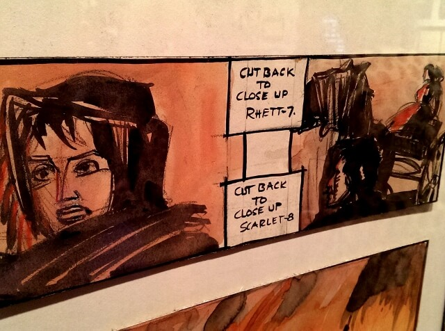 Part of storyboard for burning of Atlanta scene GWTW special exhibit Ransom Center Austin (photo by Sheila Scarborough)